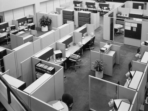 Skutchi Designs | Example of an Action Office system, introduced by Herman Miller in 1968