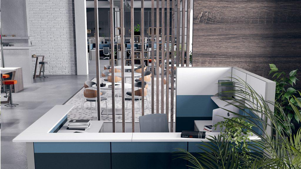 SKUTCHI Design | Sapphire Cubicle System | Reception Desk Rendering